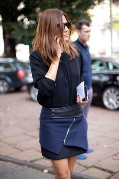 Chic Avant-garde style type Street Style Spring 2013 - Milan Fashion Week Street Style - Harper's BAZAAR
