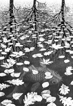 """""""Three Worlds"""" by M.C. Escher, 1955"""