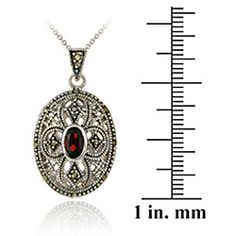 Garnet Oval Locket Necklace