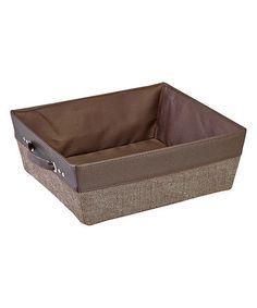 This Chocolate Herringbone Tweed Shelf Storage Tote is perfect! #zulilyfinds