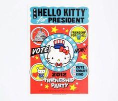 Hello Kitty for President Globe Poster
