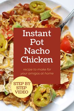 Instant Pot nacho chicken and rice is a one pot meal of tender chicken, brown rice, nacho cheese, tomatoes and chili beans. When topped with tortilla chips, tomatoes, jalapenos, avocados and sour cream it tastes out of this world. #instantpotrecipes Yummy Chicken Recipes, Good Healthy Recipes, Yum Yum Chicken, Meat Recipes, Cooker Recipes, Mexican Food Recipes, Crockpot Recipes, Rice Instant Pot Recipe, Pressure Cooking Recipes