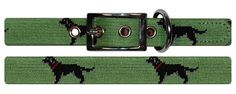 smathers and branson black lab needlepoint dog collar (moss)