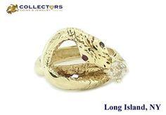 Antique Victorian 14K Gold .40ct Diamond Ruby Snake Serpent Ring Size 6.75 #antique #victorian #gold #diamond #ruby #snake #serpent #ring #fashion #jewelry