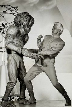 """This Island Earth"" (1955) - Publicity photo of a Metaluna Mutant and Exeter (Jeff Morrow)"