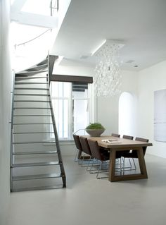 Metallic Staircase Historic Canal House and Office in Utrecht by Remy Meijers
