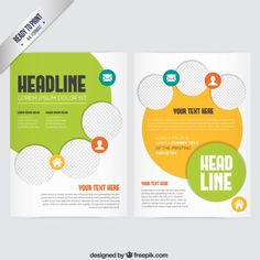 Brochure with yellow and green elements Free Vector