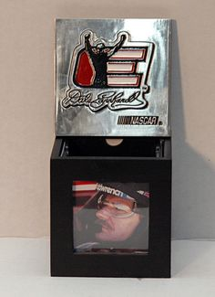 NASCAR Collectible Racing Legend Dale Earnhardt Sr Chrome and Wood Photo Box