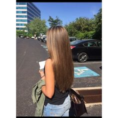 Caramel hair light brown highlights honey brown straight long hair ❤ liked on Polyvore featuring beauty products, haircare and hair styling tools