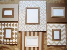 This is a trendy grouping of frames that would go great in a stair well or above a couch! Its a fun mix of patterns and sizes. Included in this set are (1) 8x10 Moroccan Pattern, (2) 5x7 in soft brown with taupe trim and a striped brown and Taupe (4) 4x6 in playful chevron, quatrefoil, diamonds and solid taupe. The frame moulding is 3-1/2, making outer dimensions of each frame (respectively) 15x17, 12x14, and 11x13. This listing includes the frame, glass, foamcore backing, flexible points…