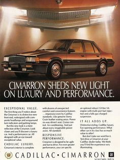 1986 Cadillac Cimarron Sedan ... the new light meant ... there was no more luxury OR performance ... welcome to the 80s American cars