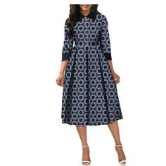African Dresses for Women Dashiki Elegant Slim Africa Clothe, three quarter sleeve calf-length zipper A-line wax cotton dress for women Size Latest African Fashion Dresses, African Dresses For Women, African Print Dresses, African Print Fashion, Africa Fashion, African Attire, African Wear, African Outfits, Shweshwe Dresses