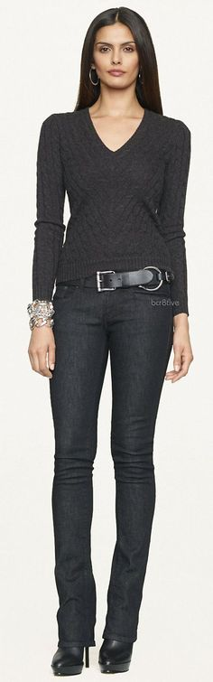 Ralph Lauren - Black Label - Mitered V-Neck Cabled Cashmere