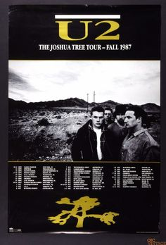 U2 The Joshua Tree Tour Final 1987 Original Vintage Poster 24 x 36
