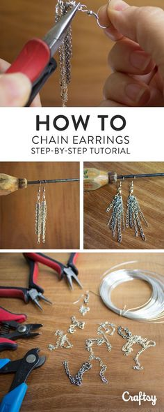 Don't toss out those bits and pieces of leftover chain — use this easy tutorial for how to make chain earrings to turn your scraps into striking jewelry! How to Make Chain Earrings: FREE Tutorial on Craftsy Beaded Earrings, Beaded Jewelry, Fine Jewelry, Beaded Bracelets, Diy Chain Earrings, Boho Jewelry, Jewelry Scale, Silver Jewelry, Making Bracelets