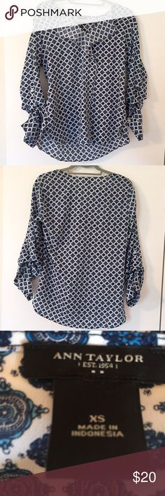 Ann Taylor blouse Blue and white patterned Ann Taylor Blouse. Looks great with white jeans and sandals. Can also be worn tucked in with a skirt. Size XS. Ann Taylor Tops Blouses