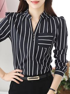 Long Sleeve V Neck Plus Size Blouse