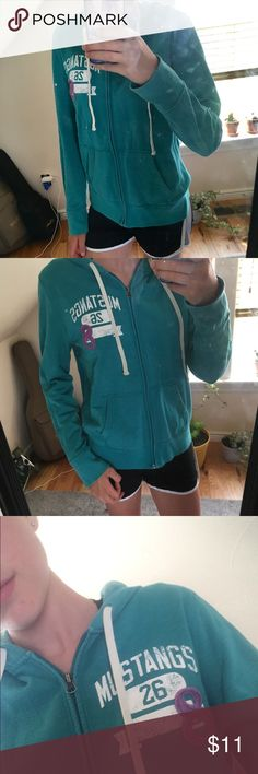 Blue/green hoodie Has a hair of pilling on the sleeve as shown. Barely noticeable. Says size large. But fits a medium better in my opinion. 20% off bundles and excepting all reasonable offers Mossimo Supply Co. Tops Sweatshirts & Hoodies