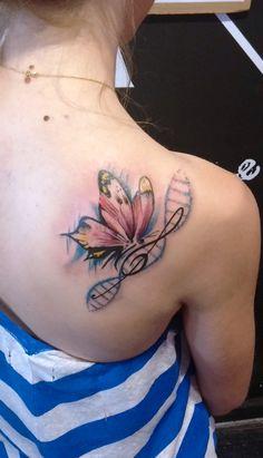 DNA.ink Tattoo Studio. Denia. Alicante. Valencia. Spain. Bohemian Tattoo Style. Art. Dots. Dotwork. Watercolor. Butterfly. ADN. DNA. Clave de Sol. Music. Sei