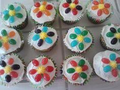 Easter Jelly Bean Flower Cupcakes