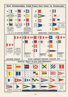 Vintage Nautical Sailing Flags Pennants by VintageButtercup