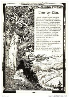 """Unter der Eiche / Gedicht von Hans Bensmann  mit Zeichnung, entnommen  aus """"die Woche"""", Jahr unbekannt"""