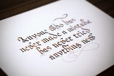 Calligraphy using parallel pen.  https://www.facebook.com/piotrlukaszkiewicz.art/