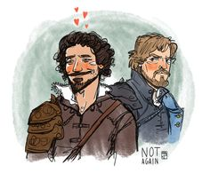 """The Musketeers fan art - Aramis and Athos. """"I cannot believe you slept with the Queen!""""- Angry Athos; Season 1 Episode 9"""