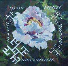 Traditional Latvian folk symbols with a white asian peony. Acrylic on canvas, 40x40cm.