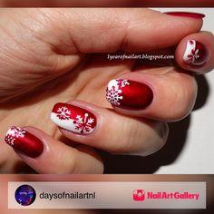 Three French Tips by daysofnailartnl via Nail Art Gallery #nailartgallery #nailart #nails #polish #snowflake #winter #christmas #redandwhite #frenchmanicure #snowflakes #frenchtips #winternails