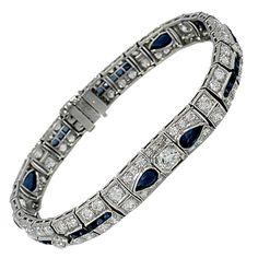 Art Deco Sapphire Diamond Platinum Bracelet | From a unique collection of vintage more bracelets at https://www.1stdibs.com/jewelry/bracelets/more-bracelets/