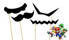 Super Mario Bros. Themed Photo Booth Props - Mario, Luigi, Waluigi, Wario Mustaches on a stick - Set of 4 - Mario Mustache, Luigi Mustache