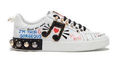 Why We Love Dolce & Gabbana's Crazy Sneakers: Dolce & Gabbana PRINTED LEATHER SNEAKERS WITH EMBELLISHMENTS. | Coveteur.com