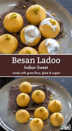 Popular Indian sweet, Besan Ladoo requires only a handful of ingredients! Made w… Popular Indian sweet, Besan Ladoo requires only a handful of ingredients! Made with besan (gram flour), ghee and sugar, these ladoos make a special treat! Best Indian Recipes, Indian Dessert Recipes, Indian Sweets, Indian Snacks, Sweets Recipes, Cooking Recipes, Vegetarian Recipes, Eggless Recipes, Veg Recipes