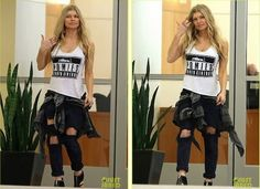 Fergie's Black Ripped Jeans & Homies South Central Tank | Big Blonde Hair : Big Blonde Hair http://www.bigblondehair.com/celebrity/fergies-black-ripped-jeans-homies-south-central-tank/