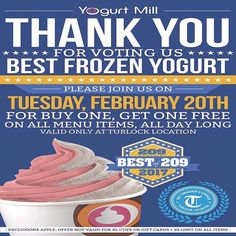 """Thank you Turlock for voting us """"Best Frozen Yogurt"""" in the Turlock Journal Reader's Choice Awards!!! To show how much we appreciate you, we will be having a BOGO offer all day at our TURLOCK LOCATION ONLY on Tuesday, February 20th! Come in and treat yourself to 2 frozen yogurts for the price of one. You can treat a friend, or keep them both for yourself, we won't tell😉🍦🍦🙌#YogurtMillFroyo"""