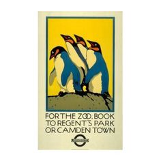 For the Zoo framed art print, by Charles Paine for the London Underground.COM Part of a collection of vintage prints, this one by Charles Paine publicises London Zoo. It's a reprint of a poster displayed on London Underground in Retro Poster, Vintage Travel Posters, London Underground, Underground Tube, Zoo Book, The Zoo, London Transport Museum, Public Transport, Railway Posters