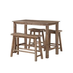 Boraam Ind. Sonoma Brown Wood 4-piece Pub Set With Table, Bench, and 2 Stools