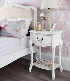 Juliette White Tallboy with 5 drawers. Juliette Shabby Chic Chest of Drawers, 6 Drawer Chest 100 x : was NOW only White Bedroom Furniture Shabby Chic, Shabby Chic Bedrooms, Trendy Bedroom, Bedroom Decor, French Furniture, Shabby Chic Nightstand, Airy Bedroom, Furniture Design, Design Bedroom