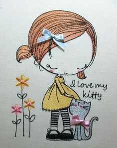 I love my kitty machine embroidery design embroidery designs embroidery pattern embroidery kit baby embroidery baby gift Border Embroidery, Baby Embroidery, Machine Embroidery Patterns, Vintage Embroidery, Embroidery Stitches, Embroidery Ideas, Embroidery Jewelry, Embroidery Sampler, Free Motion Embroidery