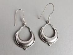 Hoop earrings .. heavy patina .. silver tone metal jewellery