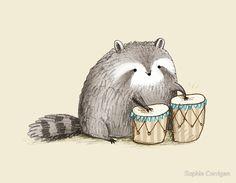 Raccoon on Bongos by Sophie Corrigan