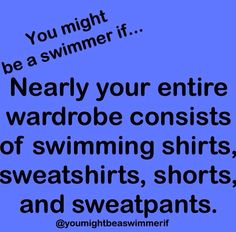 At some points you want to wear something comfy and it turns out to be swim sweatpants, swim shirt and a swim jacket often from 2 different teams. Swimming Funny, I Love Swimming, Swimming Diving, Swimming Rules, Sport Gymnastics, Olympic Gymnastics, Olympic Games, Competitive Swimming, Synchronized Swimming