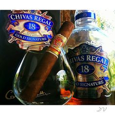 It's #FuenteFriday! Rosado Gran Reserva & Chivas Regal 18 Gold Signature  #tgif #arturofuente #scotch #whisky by dvvanderv