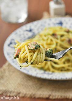 Espaguetti con bacon, espinacas y mascarpone al limón | L'Exquisit