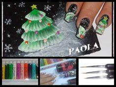 Tecnica One Stroke Christmas Nail art | Krystal - YouTube