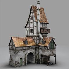 diorama ideas fantasy old blacksmith house obj - Old Blacksmiths House. by bemola Casa Viking, Casa Estilo Tudor, House 3d Model, Medieval Houses, 3d Modelle, Wargaming Terrain, Fantasy House, Paper Houses, Cardboard Houses