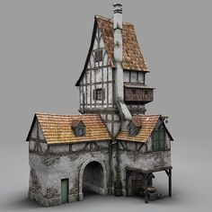fantasy old blacksmith house obj - Old Blacksmiths House... by bemola