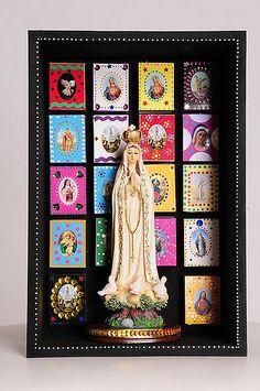 Catholic Crafts, Catholic Art, Religious Art, Mixed Media Boxes, Faith Crafts, Home Altar, Holy Mary, Blessed Virgin Mary, Arte Popular