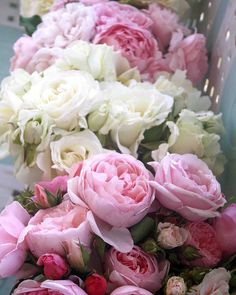 Vintage Pink & Cream English Rose Bouquets - Fine Art 8 x 10 Photography Print via Etsy